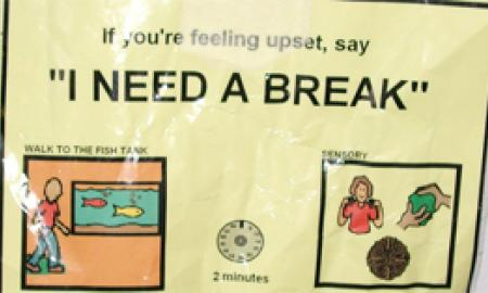 "A graphic that reads, If you're feeling upset, say ""I need a break""."