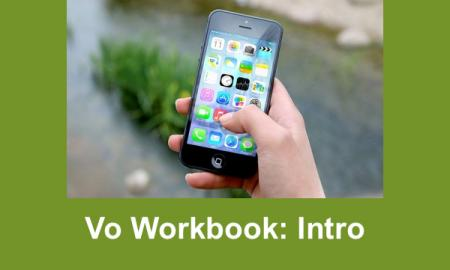 "Hand holding an iPad with text, ""VO Workbook: Intro"""