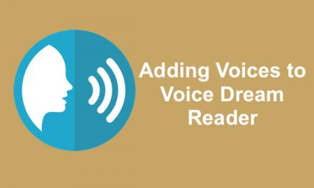 "silhouette of face and speaking symbols and text, ""Adding Voices to Voice Dream Reader"""