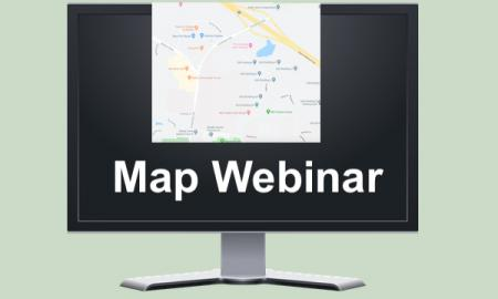 "Image: computer monitor displaying a Google Map and text, ""Map Webinar""."