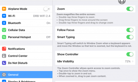 Screenshot of the Settings app displaying Zoom options