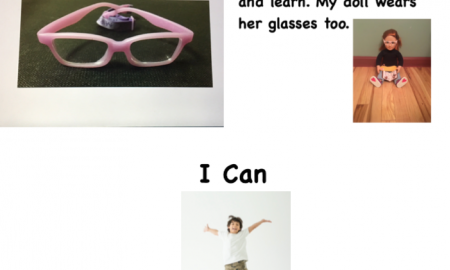 Covers of two books: I Can (boy jumping) & My Glasses (pink glasses) and image from book: doll wearing glasses & holding a book.