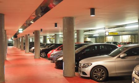 cars parked in a parking garage