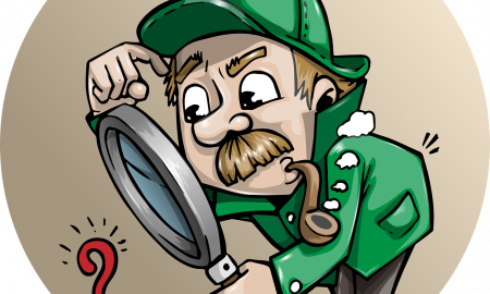 Cartoon detective scratching his head and  bending over to look through a large magnifying glass to view a question mark.