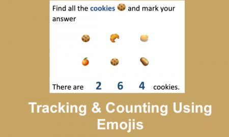 "Screenshot of 6 items, 2 of which are cookies and text, ""Tracking and counting using emojis."""