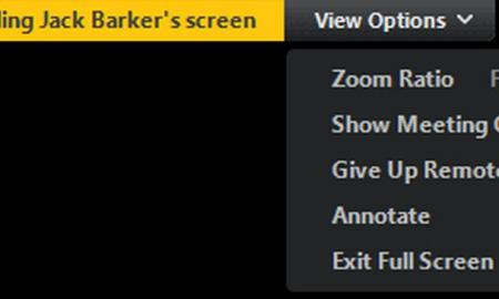 A Zoom screen show controls for remote control