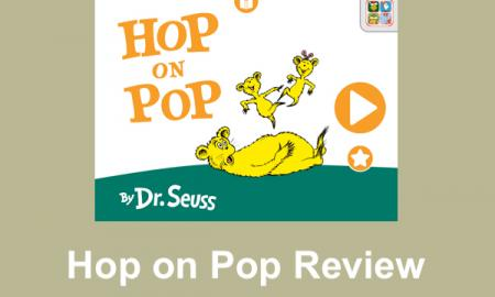 """Screenshot of Hop on Pop by Dr. Seuss cover and text, """"Hop on Pop Review"""""""