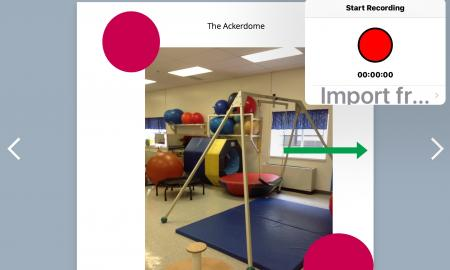 Book Creator app showing photo of therapy swing with Add button menu open & Start Recording popup feature.