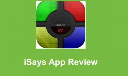 """Logo of iSays app and text, """"iSays App Review"""""""