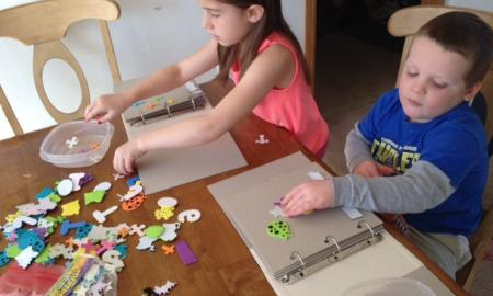visually impaired kids making puzzles