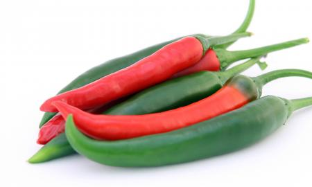 red and green spicy peppers