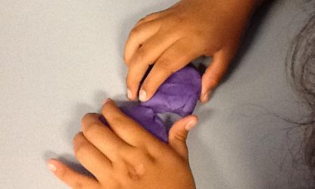 Modeling shear stress with playdoh.