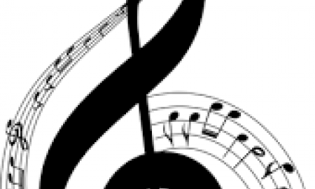 A musical treble cleft surrounded by notes.