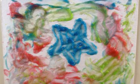 Picture of a star using the finger paints