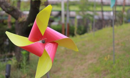 A green and pink toy pinwheel