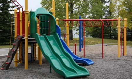 a playground structure with a slide, swings, and climbing areas