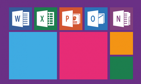 Picture of Microsoft Suite of Applications, including PowerPoint