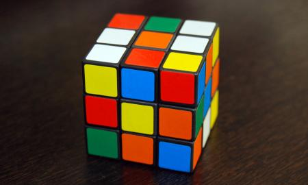 Rubik's cube on a table