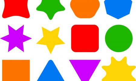different shapes - stars, triangles, squares, circles, hexagons