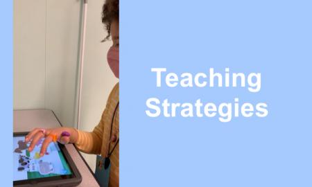"""Photo of 7-year old tapping an animal in the Very Hungry Caterpillar: First Words app and text, """"Teaching Strategies"""""""