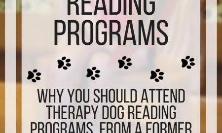 Image with text: Why to attend therapy dog reading programs. www.veroniiiica.com