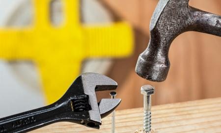 screwdriver, screw, nail, and hammer