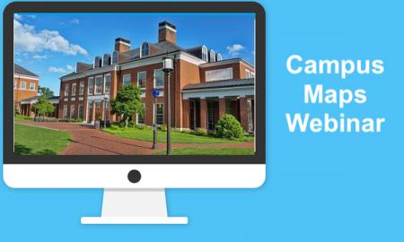 """Image of a computer monitor with a college academic building and text, """"Campus Map Webinar"""""""