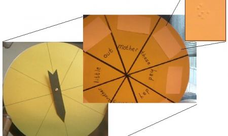 photo of the divided wheel and spinner arrow, with close-ups of print/braille