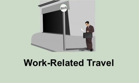 "Drawing of a business man standing in front of a bus stop with text, ""Work-related travel""."