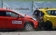two cars crashing into each other during a crash test