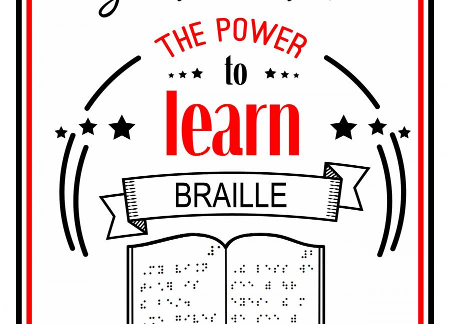 "Poster text, ""Teachers to Students with Visual Impairments give students the power to Braille,"" with hand over sim Braille"