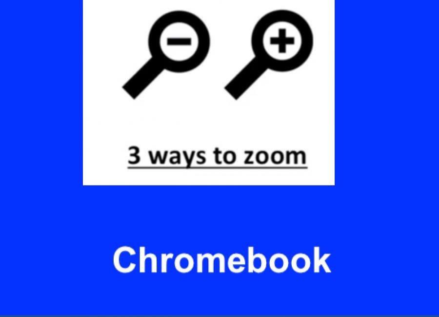 """Image of a magnifying glass + and magnifying glass -with text, """" 3 Ways to Zoom. Chromebook"""""""