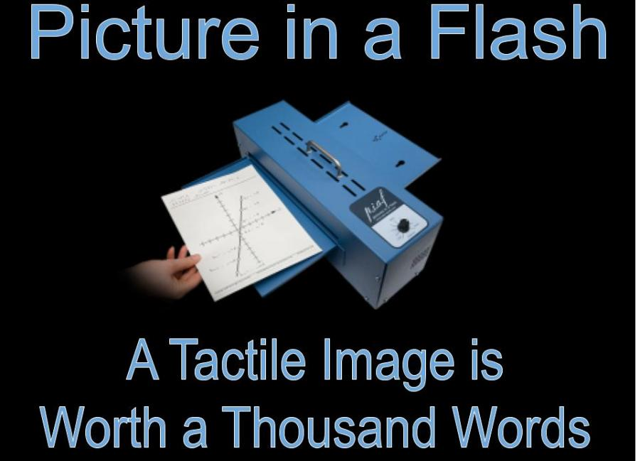 """Graphed line equation being inserted into a PIAF machine & text, """"Picture in a Flash"""" A Tactile Image is Worth a Thousand Words"""""""