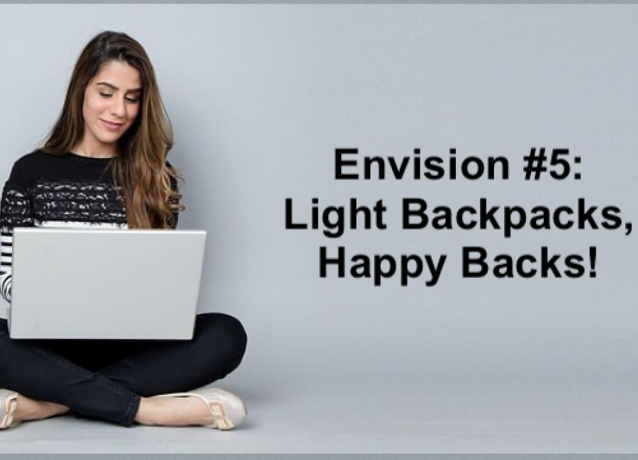 """College student sitting crosslegged on the floor with a laptop and text, """"Envision #5: Light Backpacks, Happy Backs!"""""""