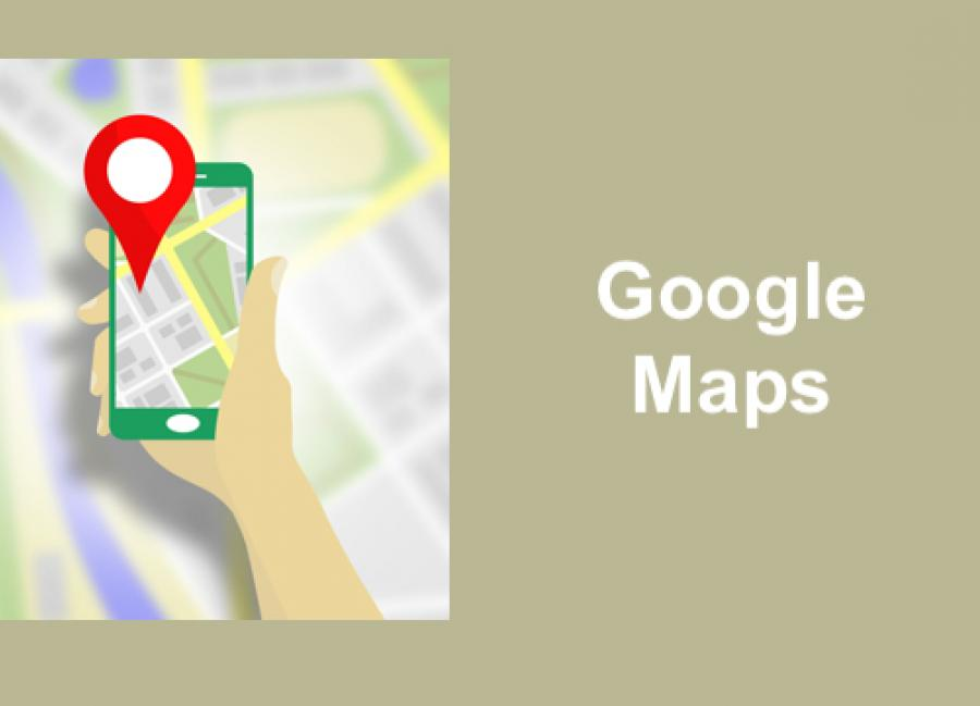 cartoon image of a hand holding a smart phone displaying a map and Point of Interest marker.