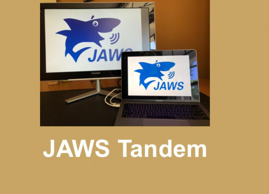 """Photo o JAWS logo on two devices with text, """"JAWS Tandem""""."""