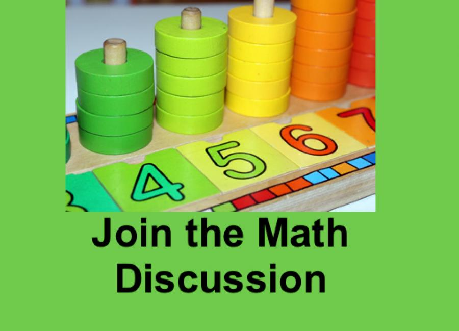 """Math manipulatives (counting discs and numbers) and text, """"Join the Math Discussion"""""""