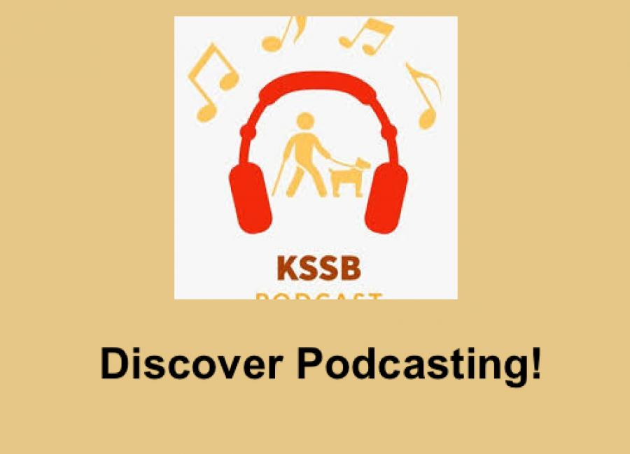 "KSSB's podcast logo and text, ""Discover Podcasting!"""