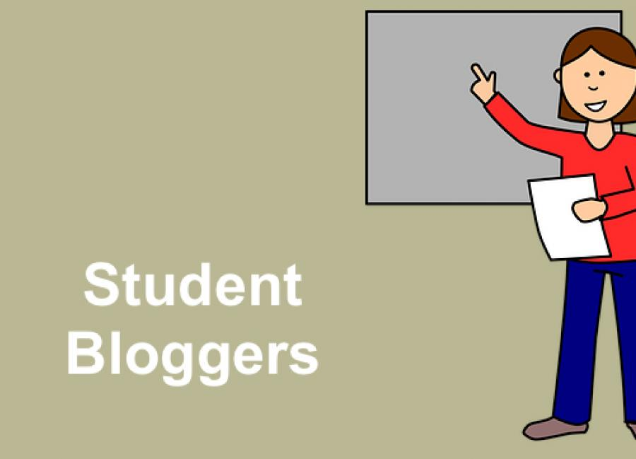 """Cartoon image of girl holding a document pointing to a white board and text, """"Student Bloggers"""""""