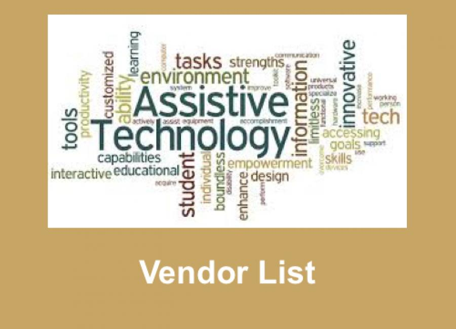 """Image of made up of AT-related text; below the image is the text, """"Vendor List"""""""