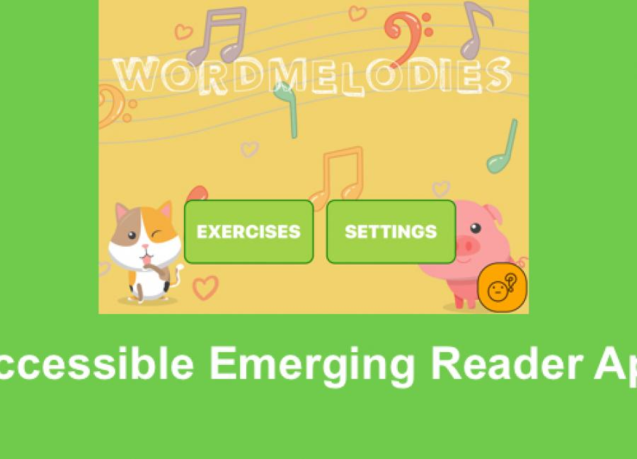 """Screenshot of Word Melodies Home screen with cartoon animals, musical notes and text, """"Accessible Emerging Reader App"""""""