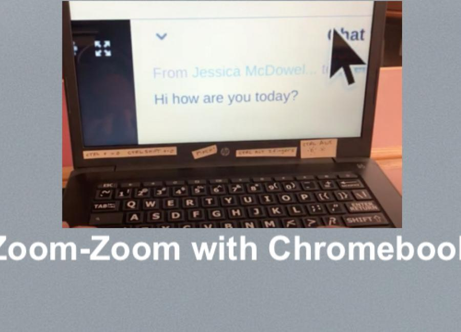 Photo of Zoom meeting's magnified chat box on a Chromebook.