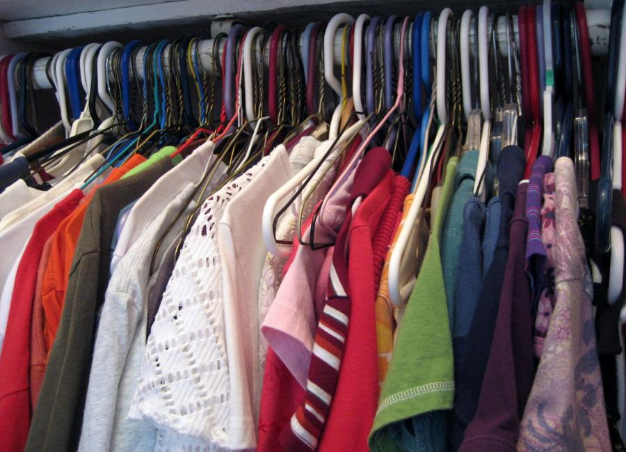 Clothing hanging in closet
