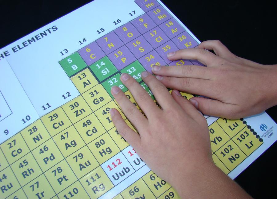 Student reading periodic table