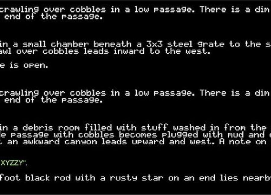 Screenshot of a text adventure game text