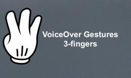 "Cartoon image of hand with 3-fingers pointing and text, ""VoiceOver Gestures: 3-fingers"""