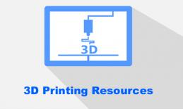 """outline image of 3D printer with text, """"3D Printing Resources"""""""