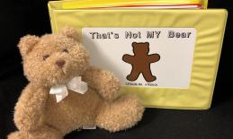 """Picture of the book """"That's Not My Bear"""" book standing up with a brown teddy bear leaning on it."""