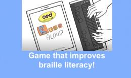 """Cartoon hands on a Braille Display with an iPad showing ObjectiveEd Read Aloud and text, """" Game that improves braille literacy!"""""""