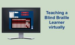 """Image of a computer monitor displaying Uabacus app and text, """"Teaching a Blind Braille Learner Remotely"""""""